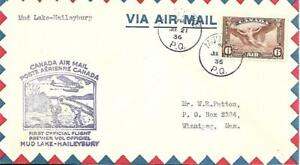 First Canadian Airmail Flight Mud Lake - Haileybury July 21 1936 AAMC#589a