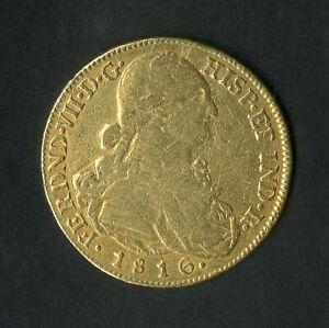 Colombia Gold Coin 1816 8 Escudos NO RESERVE!