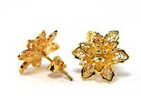 Gorgeous Detail Thai Flower Earrings 22K 24K Yellow Gold GP Jewelry GT12