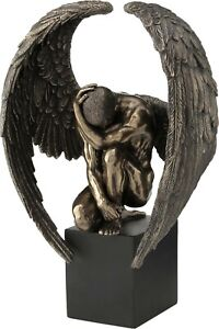 Winged Nude Angel Crouching On Plinth (Cold Cast Bronze Statue 25.5cm / 10')