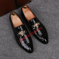 Mens Pointy Toe Snake Skin Slip On Wedding Dress Formal Shoes Loafers Shoes New