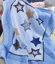 Blue Navy Stars Boy Cotbed/Sofa/Chair Throw/Blanket Coverlet laura Ashley fabric