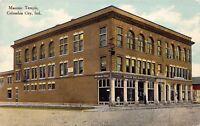 Postcard Masonic Temple in Columbia City, Indiana~129110