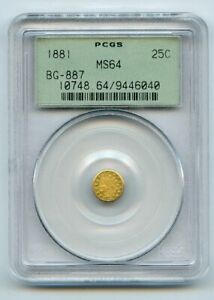 1881 G25c Indian Head Gold Coin PCGS MS64