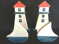 Lighthouse Decorative Holders - Set of 2 - Napkin, Letter, Wall Hanging Nautical