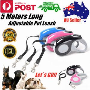 5M Adjustable Dog Pet Puppy Lead Leash Rope Retractable Extendable Training Walk
