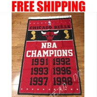 Chicago Bulls Champions Flag NBA Basketball Banner 3X5 ft 2 Gromments