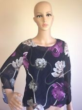 Alfani Womens Petite Navy Floral Bell Sleeve Blouse Top Size PS New NWT $69