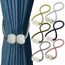 US 4Pcs Curtain Tie Backs Magnetic Ball Buckle Holder Tieback Clips Home Window