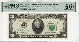 1950 E $20 FEDERAL RESERVE NOTE NEW YORK FR.2064-G PMG GEM UNC 66 EPQ (871DI)