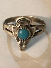 """Navajo Signed """"Turquoise"""" Arrowhead  Sterling Silver Size 6 1/2"""