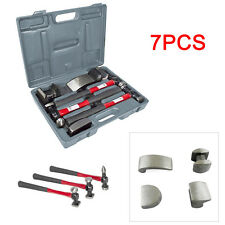 7PC CAR AUTO BODY PANEL REPAIR TOOL WITH FIBRE BODY BEATING HAMMERS Red&Black
