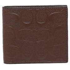 NWT Coach Mens Bifold Coin Wallet Mahogany Signature Logo Crossgrain F75363 $175