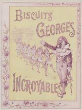 """""""BISCUITS GEORGES""""Affiche d'intérieur originale entoilée Litho 1900 35x45cm"""