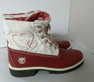 Timberland Limited Edition Roll Top Red and White Heart Valentines Boots 9.5M