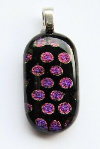 Genuine Hand Crafted Dichroic Glass Pendant - Purple Dots
