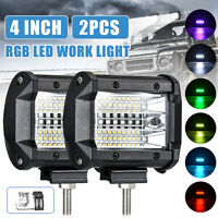 2x4''72W RGB LED Work Light Bar flood Spot Beam For 4WD SUV Truck UTE Offroad