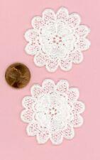 Miniature Dollhouse 2 White Cotton Doily - Double Flower  004