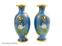 Vintage Pair of Chinese Export Decorative Floral Cloisonne Butterfly Vases
