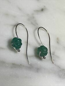 """New Carved Green Emerald Melon Earrings 925 Sterling Silver 1.25"""""""