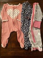 Bundle Lot Of 3 Footed Infant Baby Girl Size 3 Months Sleepers With Hearts