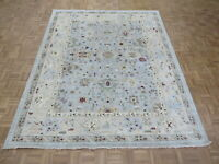 8 x 9'9 Hand Knotted Light Blue Fine Turkish Colorful Oushak Oriental Rug G8058