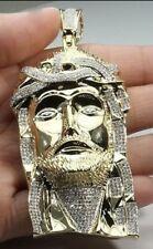"2.32 CT 3.5"" MENS YELLOW GOLD FINISH DIAMOND JESUS FACE HEAD CROSS CHARM PENDANT"
