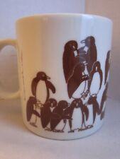 Vintage Penguin Bird Orgy Coffee Mug Cup Vintage 1979 Brown Taylor & Ng Japan