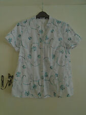 White & Green Floral Embroidered Mandarin Collar Short Sleeve Blouse Top Size 10