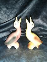 2 Vintage 40s 50s Pfaltzgraff PINK ROSE Yellow Long Neck Duck Pie Bird Vent lot