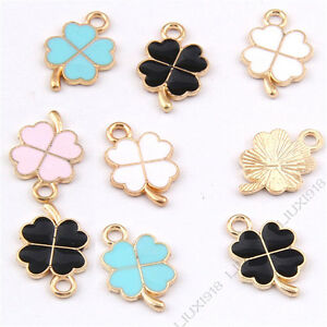 Enamel Gold Plated Charms Lucky Clover Pendant DIY Bracelet Necklace Making /985