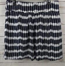 Ann Taylor Loft Linen Blend Skirt Size 12 Navy Blue White