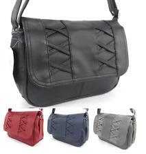 New Women PU Leather Handbag Medium Multi Pocket Zipped Flap Shoulder Handbag UK