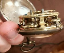 1700s FUSEE Pair case pocket watch silver beautiful gilding wells