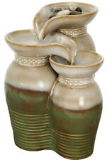 FENG SHUI PORCELAIN JAR TABLETOP FOUNTAIN, NATURE'S GARDEN, NEW in Box