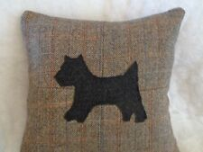 HARRIS TWEED PATCHWORK CUSHION WITH HARRIS TWEED SCOTTIE DOG  APPLIQUE