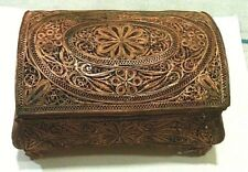 VINTAGE OLD ALBANIA COPPER FILIGREE BOX-HANDCRAFT JEWELLERY CASE-AWESOME