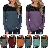 UK Womens Lace Crew Neck Long Sleeve Blouse Tee Ladies Casual Loose Tops T-Shirt