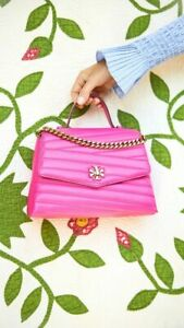 NWT IN PLASTIC Tory Burch Kira Chevron Top-Handle Satchel CRAZY PINK