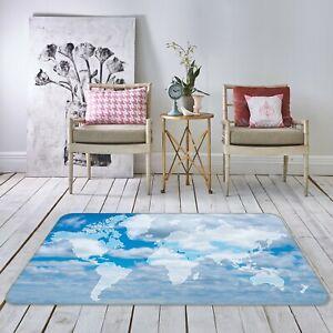 3D Sky White Clouds R611 World Map Non Slip Rug Mat Elegant Photo Carpet Kay