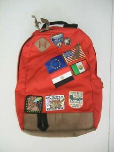 REI Red Leather Bottom VTG NATIONAL PARK PATCHES BACKPACK Hiking Camping Day Bag