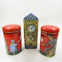 Lot of 3 Vintage Coin Bank Tins Churchills Peter Pan Big Ben Post Box EMPTY