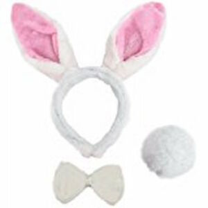 Easter Plush Bunny PINK White Rabbit Headband Ears Tail Fancy Dress Bow Tie Set