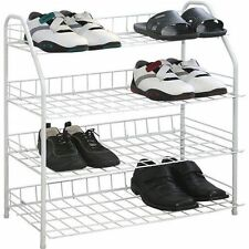 4 TIER SHOE RACK BOOT HOME WIRE STORAGE STAND ORGANISER CUPBOARD UNIT WHITE NEW