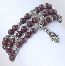 Round Beads Alloy Bracelet Cgxy16 6mm Natural Red Garnet Rhodolite