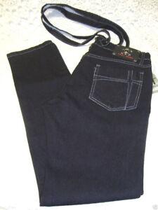 NWT -  Royal Bones - Jeans with Suspenders - Black w/Grey Stitch  - Size: 1