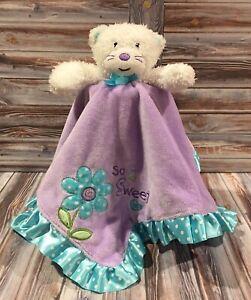Okie Dokie So Sweet Kitten Cat Security Blanket Lovey Purple Aqua Dots Rattle