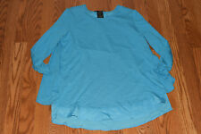 NEW Womens GRACE ELEMENTS Aqua Lagoon Rounded Neck Top 3/4 Sleeve Shirt M