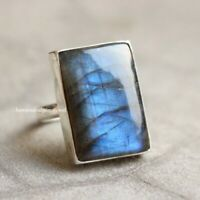 NATURAL BLUE FIRE LABRADORITE 925 STERLING SILVER RING GIFT JEWELRY SIZE 6 TO 13