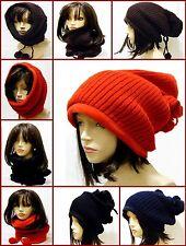 Fleece Fashion Tube Scarf Hood Hat Warm Winter Knit Crochet Pom Poms Ski Skating